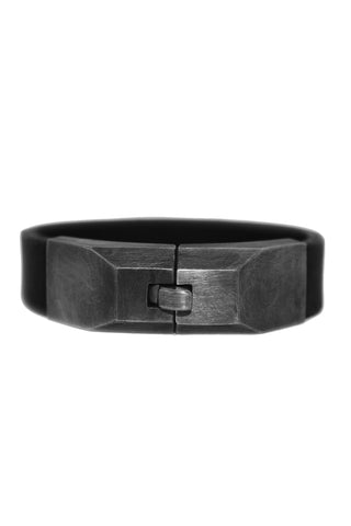 Shop Emerging Slow Fashion Avant-garde Jewellery Designer David Gaboriau Oxidised Silver and Black Leather Lock Bracelet at Erebus