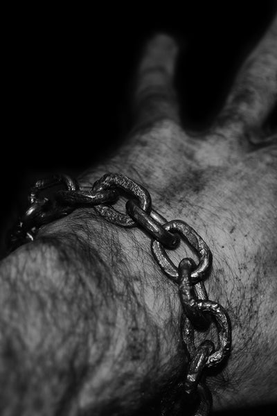 Shop Emerging Slow Fashion Avant-garde Jewellery Designer David Gaboriau Oxidised Silver Raw Chain Bracelet at Erebus