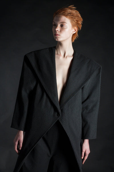 Shop Emerging Conceptual Dark Fashion Womenswear Brand DZHUS MISCONCEPT Collection Black Stereotype Tuxedo Jumpsuit at Erebus