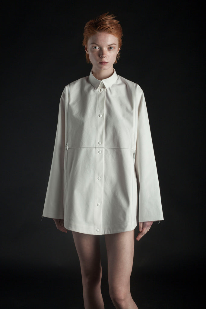 Shop Emerging Conceptual Dark Fashion Womenswear Brand DZHUS MISCONCEPT Collection Ivory Transformable Normcore Shirt / Bag at Erebus