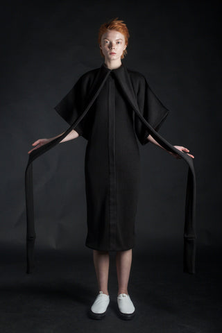 Shop Emerging Conceptual Dark Fashion Womenswear Brand DZHUS MISCONCEPT Collection Black Transformable Kimono Dress at Erebus
