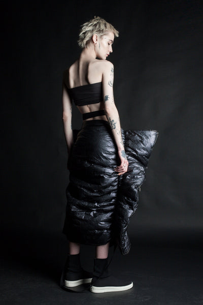 Shop Emerging Conceptual Dark Fashion Womenswear Brand DZHUS MISCONCEPT Collection Black Transformable Shopper Skirt / Bag at Erebus