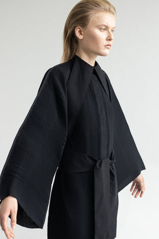 Shop Emerging Conceptual Dark Fashion Womenswear Brand DZHUS Algorithm Collection Black Synthesis Kimono Dress at Erebus