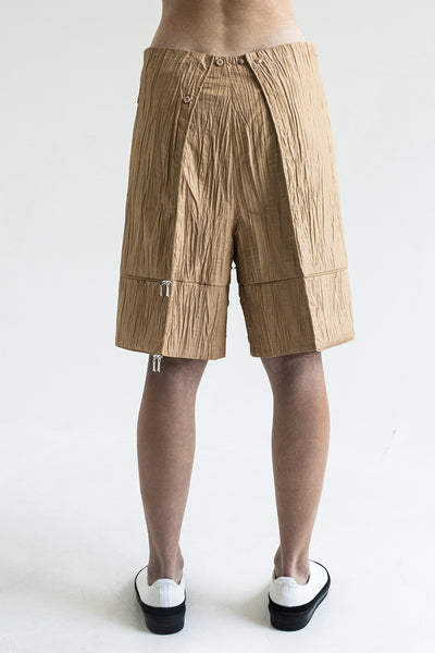 Shop Emerging Conceptual Dark Fashion Womenswear Brand DZHUS Ecopack SS21 Collection Beige Transformable Takeaway Shorts / Bag at Erebus