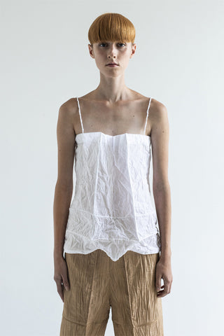 Shop Emerging Conceptual Dark Fashion Womenswear Brand DZHUS Ecopack SS21 Collection White Transformable Paperbag Top / Bag at Erebus