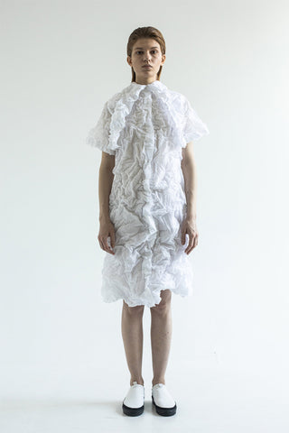 Shop Emerging Conceptual Dark Fashion Womenswear Brand DZHUS Ecopack SS21 Collection White Transformable Wastepaper Dress at Erebus