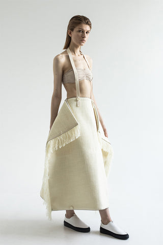 Shop Emerging Conceptual Dark Fashion Womenswear Brand DZHUS Ecopack SS21 Collection Cream Transformable Eco Skirt / Bag at Erebus