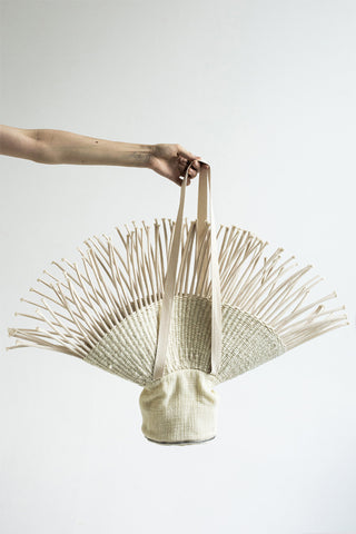 Shop Emerging Conceptual Dark Fashion Womenswear Brand DZHUS Ecopack SS21 Collection Beige Transformable Basket Hat / Bag at Erebus