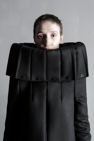 Shop Emerging Conceptual Womenswear Brand DZHUS Black Wool Prostration Transformer Coat at Erebus