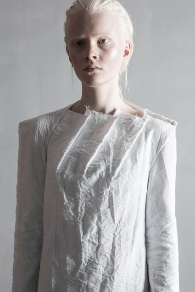 Shop Emerging Conceptual Womenswear Brand DZHUS Structural White Gradation Dress at Erebus
