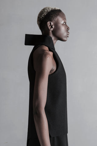 Shop Emerging Conceptual Womenswear Brand DZHUS Black Wool Structural Perspective Sleeveless Jacket at Erebus