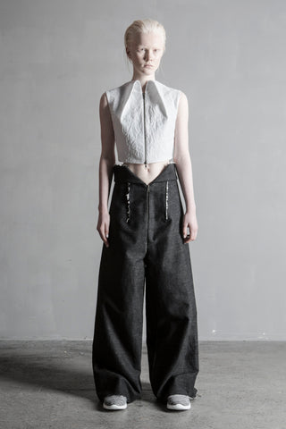 Shop Emerging Conceptual Womenswear Brand DZHUS Sculptural White Sleeveless Dispersion Shirt at Erebus