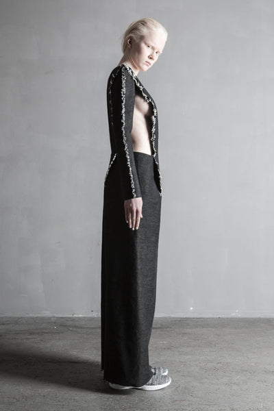 Shop Emerging Conceptual Womenswear Brand DZHUS Black Melange Denim Structural Disruption Dress at Erebus