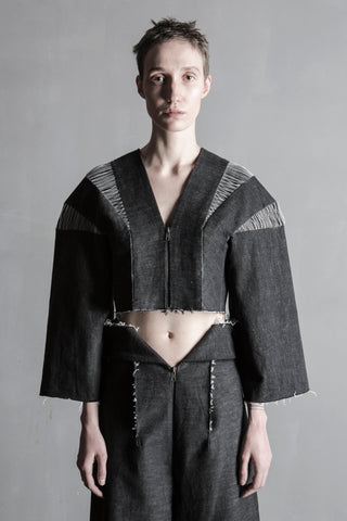 Shop Emerging Conceptual Womenswear Brand DZHUS Structural Black Melange Denim Disintegration Jacket at Erebus
