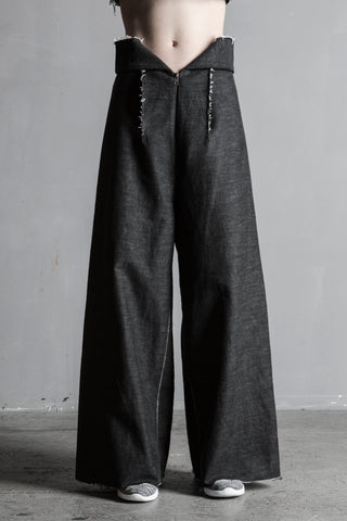 Shop Emerging Sculptural Conceptual Womenswear Brand DZHUS Wide Leg Black Melange Denim Conjunction Trousers at Erebus