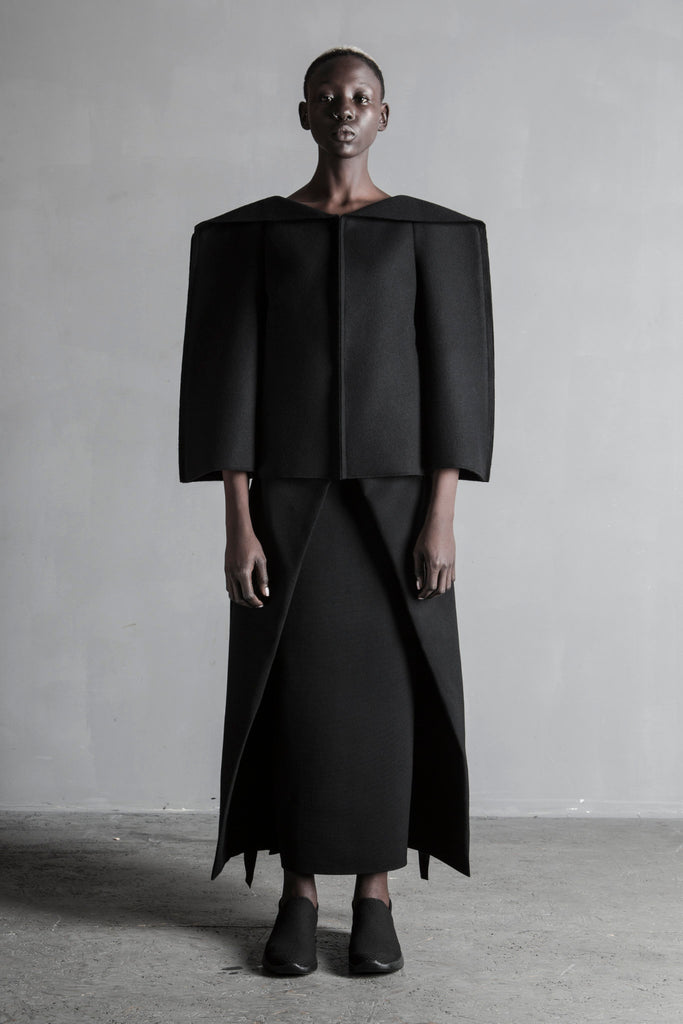 Shop Emerging Conceptual Womenswear Brand DZHUS Black Wool Diffusion Transformer Coat at Erebus