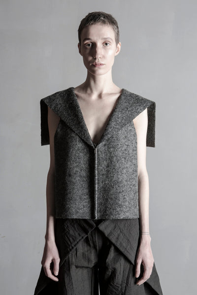 Shop Emerging Conceptual Womenswear Brand DZHUS Sculptural Graphite Wool Blend Definition Sleeveless Jacket at Erebus