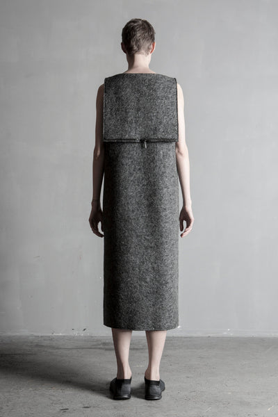 Shop Emerging Conceptual Womenswear Brand DZHUS Sculptural Grey Wool Progress Transformer Sleeveless Coat at Erebus