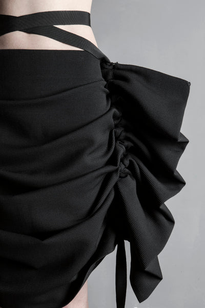 Shop Emerging Conceptual Womenswear Brand DZHUS Black Wool Controversy Transformer Skirt at Erebus