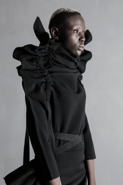 Shop Emerging Structural Conceptual Womenswear Brand DZHUS Black Wool Immersion Transformer Long Sleeve Top at Erebus