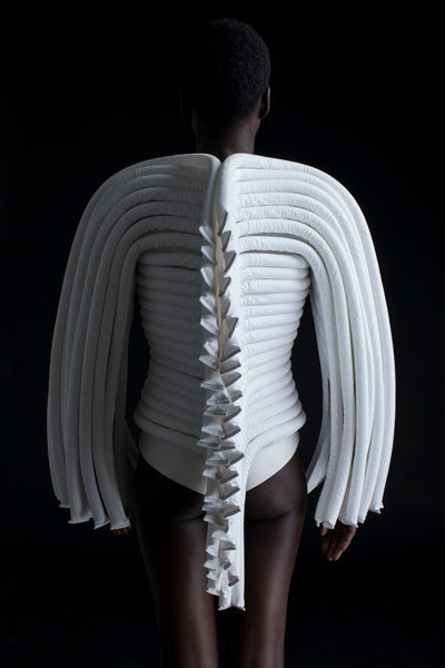 Shop Emerging Conceptual Dark Fashion Womenswear Brand DZHUS Corpus Collection White Vertebra Transformable Corset at Erebus
