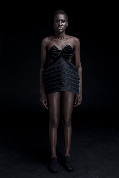 Shop Emerging Conceptual Dark Fashion Womenswear Brand DZHUS Corpus Collection Black Membrane Transformable Top at Erebus