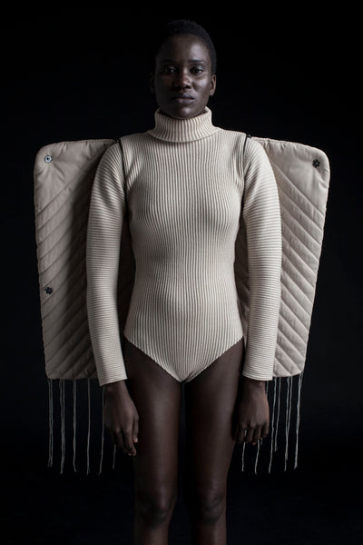 Shop Emerging Conceptual Dark Fashion Womenswear Brand DZHUS Corpus Collection Ivory Corpus Transformable Bodysuit at Erebus