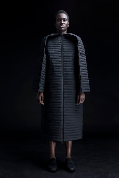 Shop Emerging Conceptual Dark Fashion Womenswear Brand DZHUS Corpus Collection Black Capsule Transformable Coat at Erebus