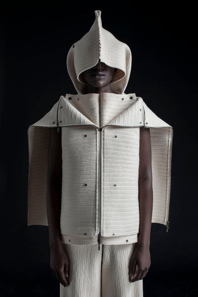 Shop Emerging Conceptual Dark Fashion Womenswear Brand DZHUS Corpus Collection Ivory Regeneration Transformable Jacket at Erebus