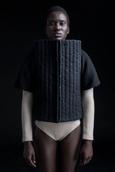 Shop Emerging Conceptual Dark Fashion Womenswear Brand DZHUS Corpus Collection Black Frame Transformable Piece at Erebus