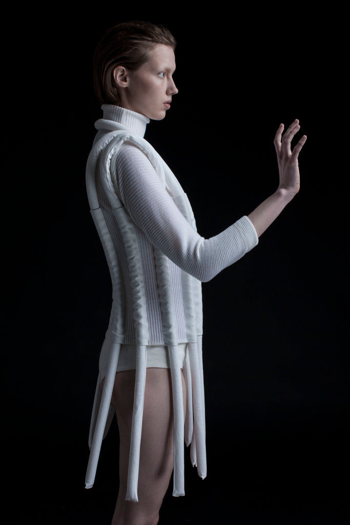 Shop Emerging Conceptual Dark Fashion Womenswear Brand DZHUS Corpus Collection Sculptural White Carcass Top at Erebus
