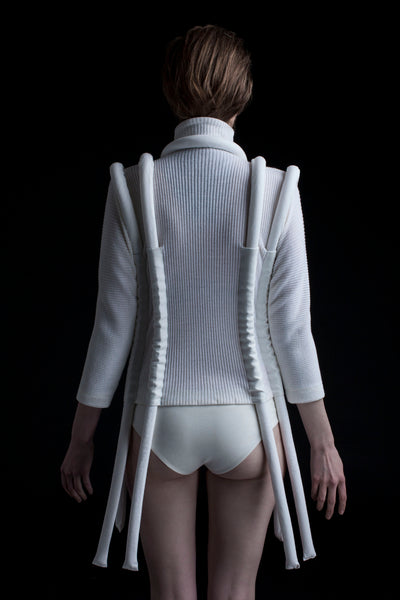 Shop Emerging Conceptual Dark Fashion Womenswear Brand DZHUS Corpus Collection White Carcass Top at Erebus