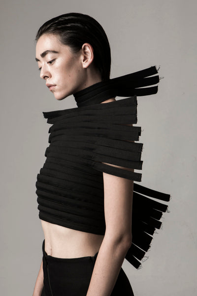 Shop Emerging Conceptual Dark Fashion Womenswear Brand DZHUS Sculptural Black Outline Corset at Erebus