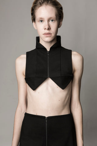 Shop Emerging Conceptual Dark Fashion Womenswear Brand DZHUS Sculptural Black Pattern Bra Top at Erebus