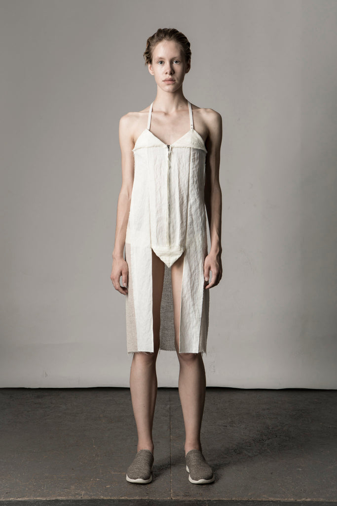 Shop Emerging Conceptual Dark Fashion Womenswear Brand DZHUS Sculptural Ivory Transformable Layout Dress at Erebus