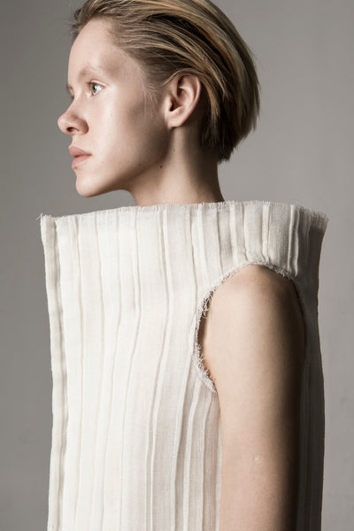 Shop Emerging Conceptual Dark Fashion Womenswear Brand DZHUS Sculptural Ivory Transformable Conversion Top / Bag at Erebus