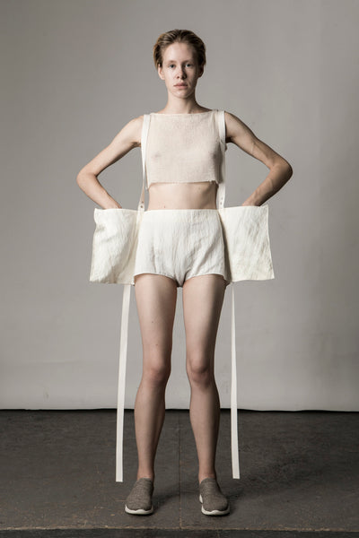 Shop Emerging Conceptual Dark Fashion Womenswear Brand DZHUS Sculptural Ivory Transformable Rearrangement Shorts at Erebus