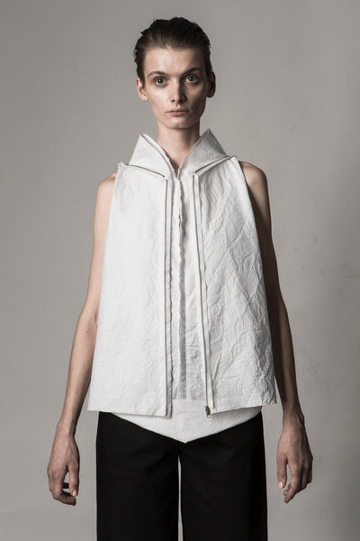 Shop Emerging Conceptual Dark Fashion Womenswear Brand DZHUS Sculptural White Transformable Scheme Top at Erebus