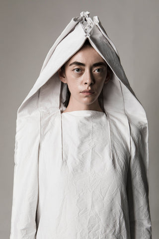 Shop Emerging Conceptual Dark Fashion Womenswear Brand DZHUS Sculptural White Transformable Reconstruction Dress at Erebus
