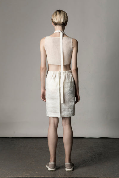 Shop Emerging Conceptual Dark Fashion Womenswear Brand DZHUS Sculptural Ivory 5-way Transformable Multipurpose Piece at Erebus