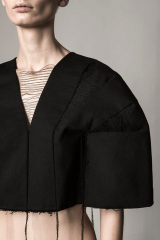 Shop Emerging Conceptual Dark Fashion Womenswear Brand DZHUS Sculptural Black Draft Cape Top at Erebus