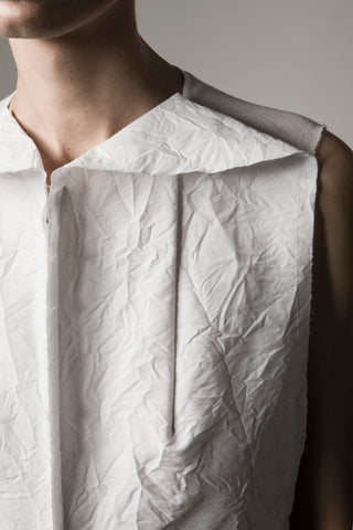 Shop Emerging Conceptual Dark Fashion Womenswear Brand DZHUS Sculptural White Sleeveless Formation Top at Erebus