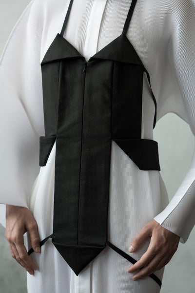 Shop Emerging Conceptual Dark Fashion Womenswear Brand DZHUS Algorithm Collection Black Infinity Harness Vest at Erebus