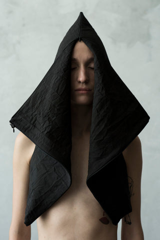 Shop Emerging Conceptual Dark Fashion Womenswear Brand DZHUS Algorithm Collection Black Transformable Template Bag Vest Waistcoat Bolero Hood at Erebus