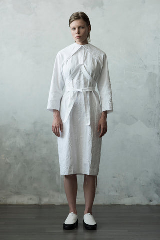 Shop Emerging Conceptual Dark Fashion Womenswear Brand DZHUS Algorithm Collection White Transformable Formula Shirt Dress at Erebus