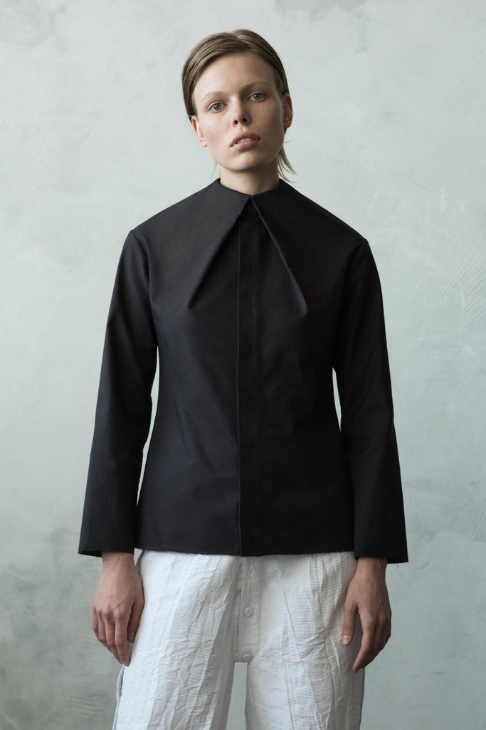Shop Emerging Conceptual Dark Fashion Womenswear Brand DZHUS Algorithm Collection Black Integrity Shirt at Erebus