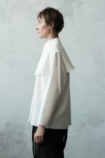 Shop Emerging Conceptual Dark Fashion Womenswear Brand DZHUS Algorithm Collection Ivory Norm Shirt at Erebus