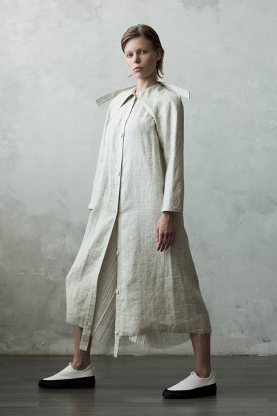 Shop Emerging Conceptual Dark Fashion Womenswear Brand DZHUS Algorithm Collection Sand Melange Linen Transformable Conformity Trench Coat Dress at Erebus