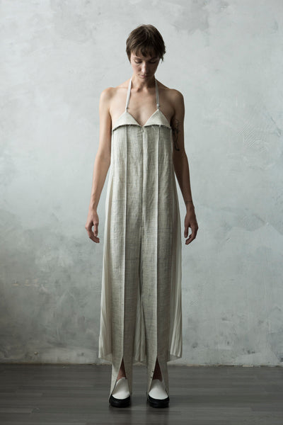 Shop Emerging Conceptual Dark Fashion Womenswear Brand DZHUS Algorithm Collection Sand Melange Linen Logic Jumpsuit at Erebus