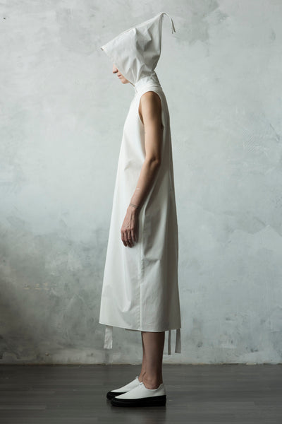 Shop Emerging Conceptual Dark Fashion Womenswear Brand DZHUS Algorithm Collection Ivory Transformable System Dress Jumpsuit at Erebus